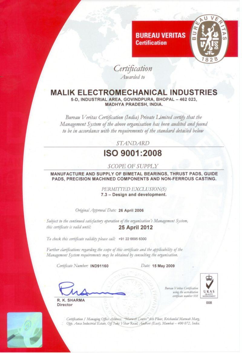 Malik Electromechanical Industries    Award Of Iso